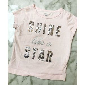 Carters • Shine Like A Star Pink Silver Sequin Tee